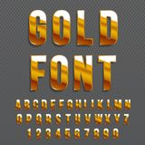 Golden glossy vector font or gold alphabet. Gold typeface. Metallic   alphabet typographic illustration. Golden glossy vector font or gold alphabet. Gold Stock Image