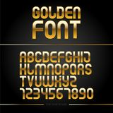 Golden glossy vector font or gold alphabet. Yellow metal typeface. Metallic golden abc, alphabet typographic luxury illustration. Stock Image