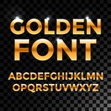 Golden glossy vector font or gold alphabet. Yellow metal typeface. Metallic golden abc, alphabet typographic luxury Stock Photos