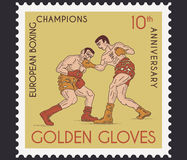 Golden gloves. Vector boxing concept of stamp golden gloves champions Stock Image