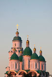 Golden glow. Beautiful cupolas of Russian orthodox cathedral at sunset Royalty Free Stock Photography