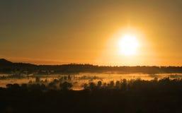 Golden glow of morning over mist in winter