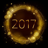 Golden glow 2017 new year vector illustration. Golden glow 2017 new year background vector illustration. Calendar greeting card design typography template Stock Illustration