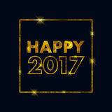 Golden glow 2017 new year vector illustration. Golden glow 2017 new year background vector illustration. Calendar greeting card design typography template Royalty Free Stock Photos