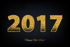 Golden glow 2017 new year vector illustration. Stock Images