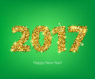 Golden glow 2017 new year vector illustration. Royalty Free Stock Photo