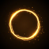 Golden glow round frame with electric discharge effect  Stock Image