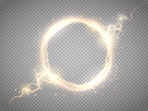 Golden glow round frame with electric discharge isolated. Vector illustration Stock Images