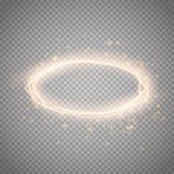 Golden glow round frame with electric discharge . Vector illustration Stock Image