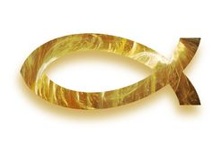 Golden glowing christian fish ichthys symbol with drop shadow Stock Images