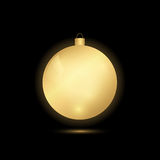 Golden glowing Christmas balls. On a black background Royalty Free Stock Photos