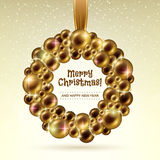 Golden glowing christmas balls wreath. Stock Photography