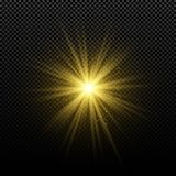 Golden glowing golden star on a transparent background. Glowing magical star. Bright flares. Gold rays. Magic explosion. Christmas. Star. Vector illustration stock illustration