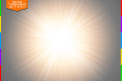 Golden glowing light burst explosion on transparent background. Vector illustration. Transparency in additional format only. Light effect decoration with ray vector illustration