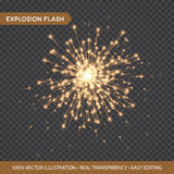 Golden glowing lights effects isolated on transparent background. Explosion Flash with rays and spotlight. Star burst. With sparkles. Vector illustration EPS10 Stock Images