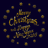 Golden glowing Merry Christmas gold glittering lettering design. Vector illustration EPS 10. Art Stock Photo