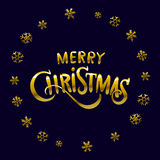 Golden glowing Merry Christmas and happy New Year 2016 lettering collection. Vector illustration. Art royalty free illustration