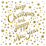 Golden glowing Merry Christmas and happy New Year 2016 lettering collection. Vector illustration. Art Stock Images