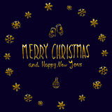Golden glowing Merry Christmas and happy New Year 2016 lettering collection. Vector illustration. Art Stock Image