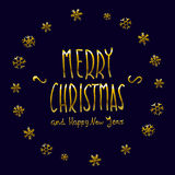 Golden glowing Merry Christmas and happy New Year 2016 lettering collection. Vector illustration. Art Stock Photos