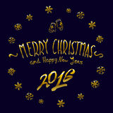 Golden glowing Merry Christmas and happy New Year 2016 lettering collection. Vector illustration. Art Royalty Free Stock Photography