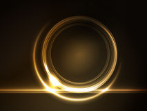 Golden glowing round frame for your text Stock Photography