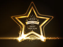 Golden glowing star frame with Merry Christmas typography vector illustration