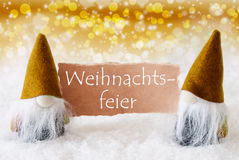 Golden Gnomes With Card, Weihnachtsfeier Means Christmas Party Royalty Free Stock Photography