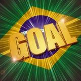Golden goal over Brazilian flag. 3d golden goal shining over Brazilian flag - football sport concept Stock Photography