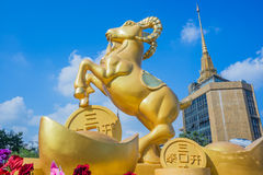 Golden goat statue in china town Royalty Free Stock Image