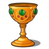 Golden goblet encrusted with precious stones isolated on a white background. Vector illustration. Golden goblet encrusted with precious stones isolated on a Royalty Free Stock Photo