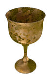 Antique goblet Holy grail rust cup. Ancient holy grail isolated on white background. Holy Chalice is the vessel which Jesus used at the Last Supper Stock Images