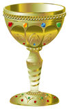 Golden goblet with precious stones stock illustration
