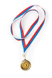 Golden or gold medal isolated closeup Royalty Free Stock Photography