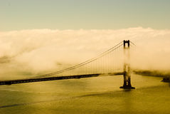Golden Golden Gate. Fog drenched Golden Gate Bridge Royalty Free Stock Photos