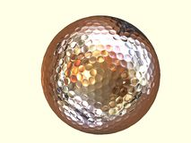 Golden golf ball. Isolated golden golf ball with yellow background Royalty Free Stock Images