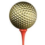 Golden golf ball Stock Image