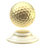 Golden golf ball champion goblet. Isolated on white Royalty Free Stock Image
