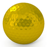 Golden Golf Ball isolated on white Royalty Free Stock Images