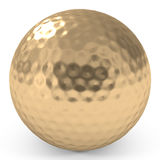 Golden Golf Ball isolated on white Stock Photo