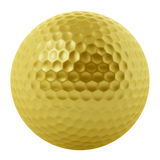 Golden golf ball isolated on white Royalty Free Stock Photos