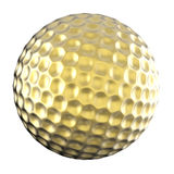 Golden golf ball isolated on white Stock Photos