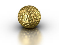 Golden golf ball on reflective white background Stock Image