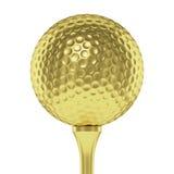 Golden golf ball on tee closeup isolated on white Stock Photos