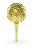 Golden golf ball on tee isolated on white background Stock Photos