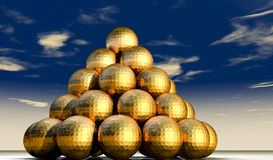 Golden golf balls Stock Photo