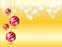 Golden Gradient background with bokeh light. Christmas background with four hanging Red ribbon ball decoration royalty free illustration