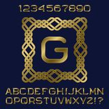 Golden gradient letters and numbers with initial monogram in decorative square frame. Stylish font kit for logo design Stock Photography