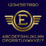 Golden gradient letters and numbers with initial monogram. In winged frame. Stylish font kit for logo design Royalty Free Stock Image