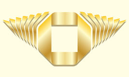 Golden gradient square ribbon text frame with decorative sidepieces Stock Image